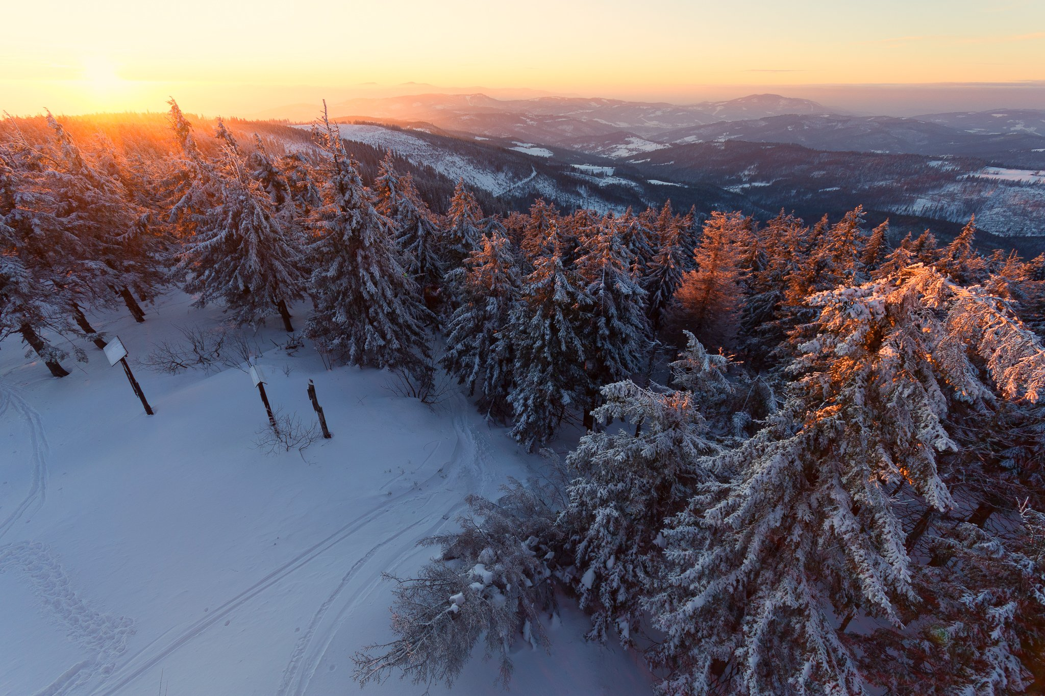 sunset,mountains,forest,trees,snow,frost,frozen,evening,cold, Marcin Mucharski
