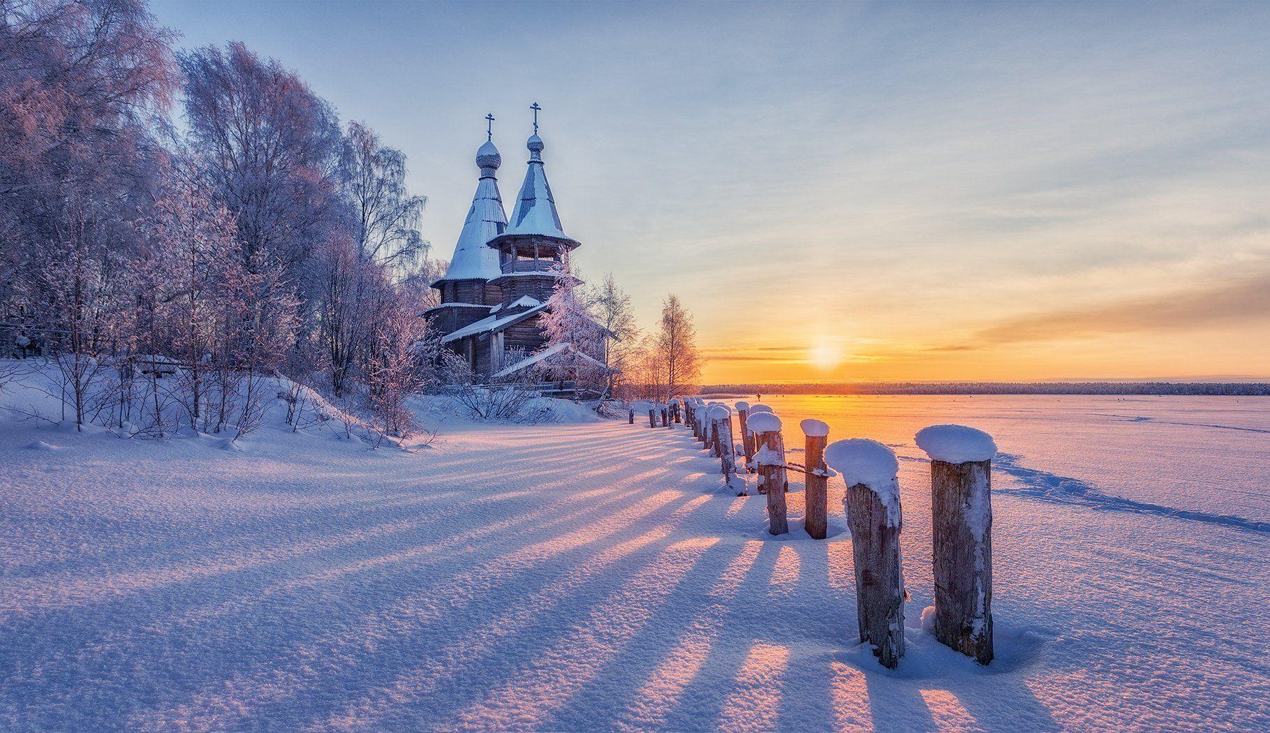 чёлмужи, церковь, зима, снег, Липецких Владимир