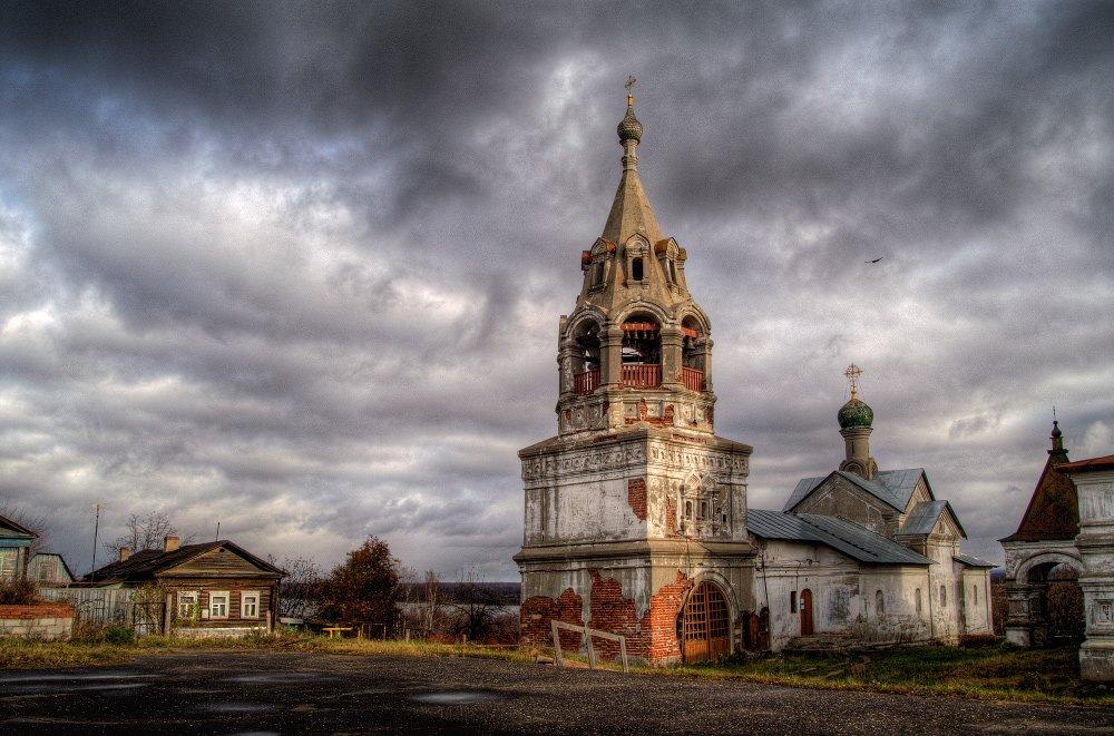 октябрь, церковь, луч, солнца, холодное, воскресенье, Андрей Макаров
