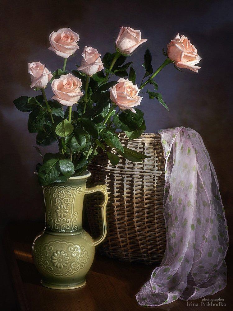 натюрморт, розы, букет, винтажный, Ирина Приходько