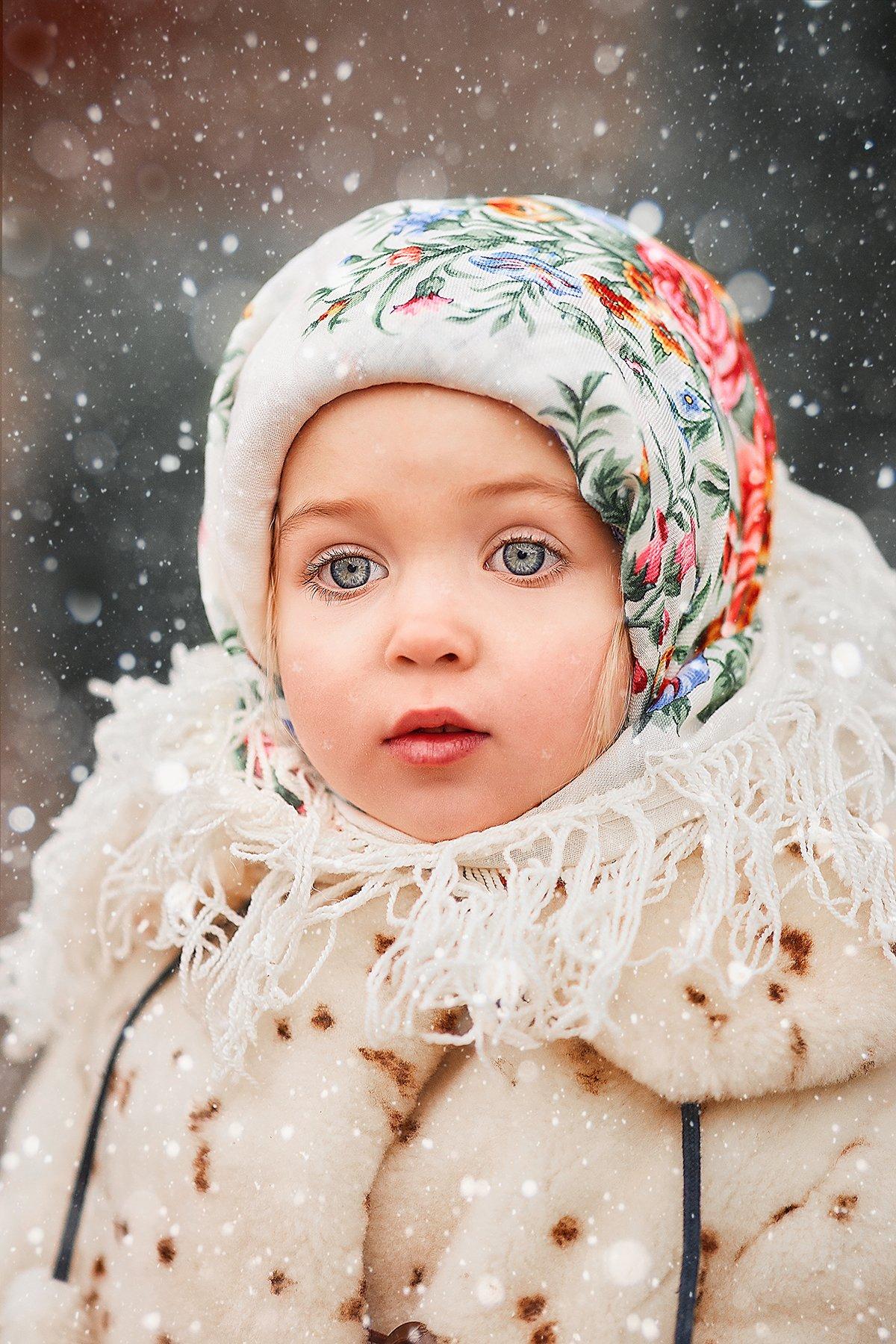 детский портрет, детская фотографий,  красавица, зима , русская красавица, советский ребенок, дети модели, Чупико Анастасия