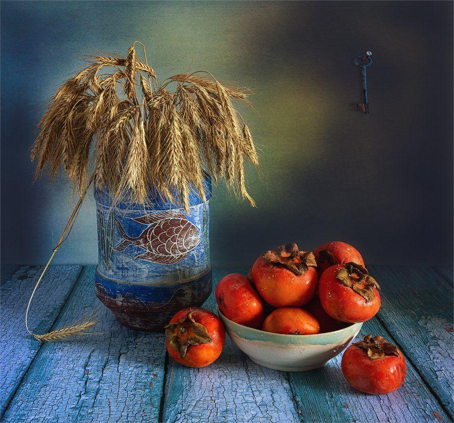 still life, натюрморт, еда, хурма, фрукт, спелый, ваза, колоски, букет, винтаж, ретро, ключ,, Шерман Михаил