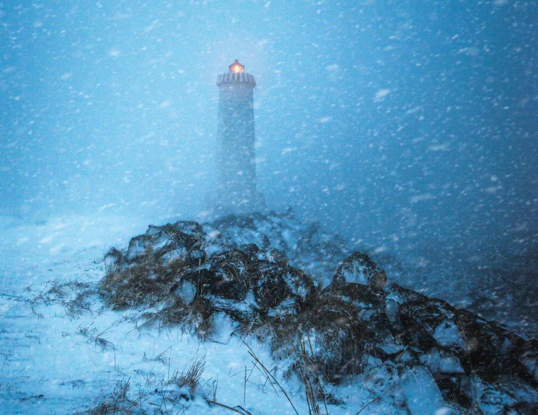 akranes, lighthouse, snowstorm, Jarkko Järvinen