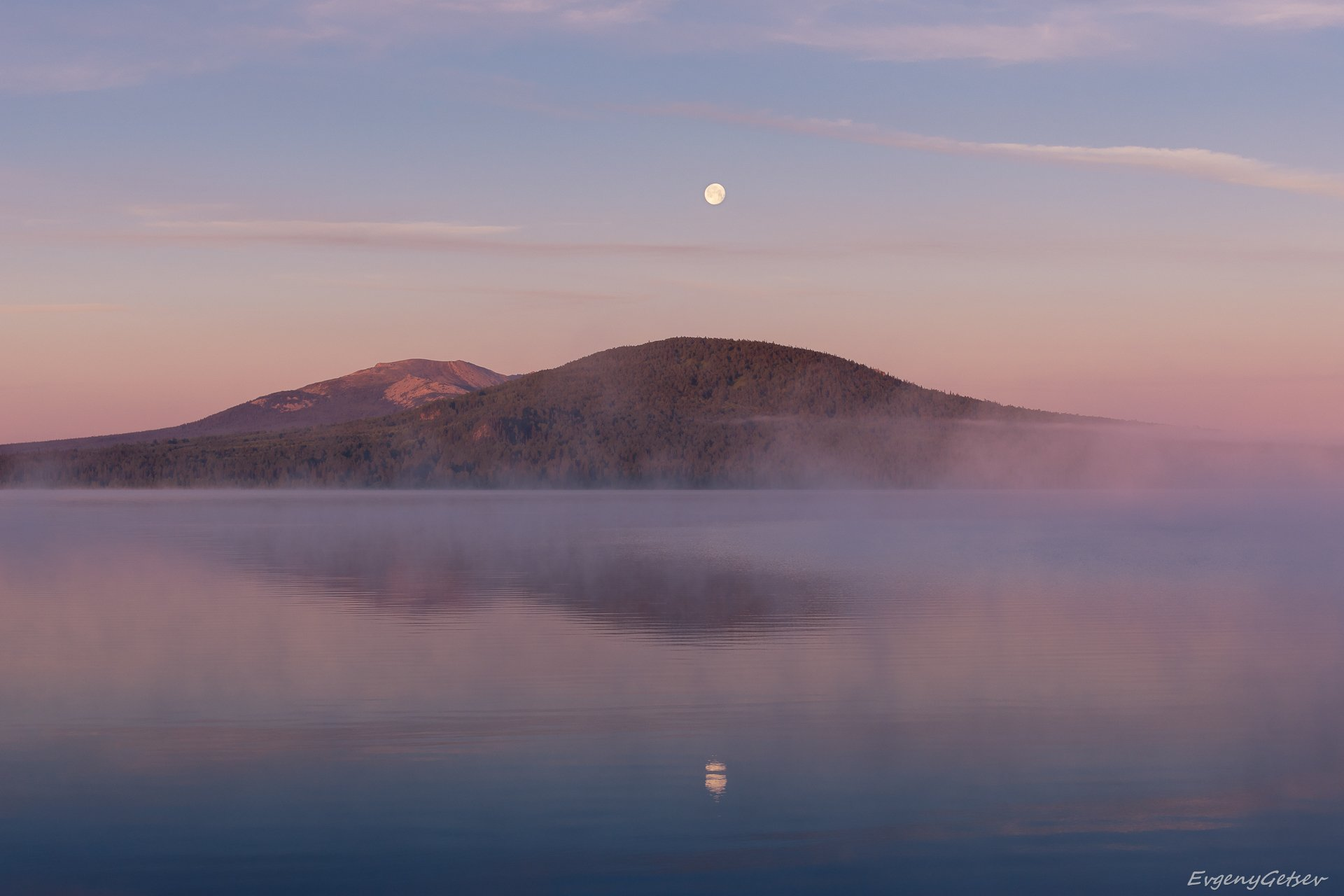 пейзаж, зюраткуль, урал, рассвет, луна, туман, Евгений Гецев