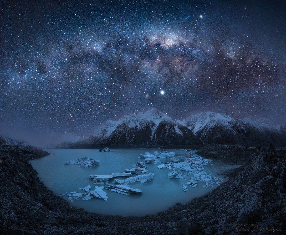 новая зеландия,тасман,млечный путь,звезды,ночь,ночной пейзаж,фототур,природа,горы,зима,ледник,снег, Elena Pakhalyuk