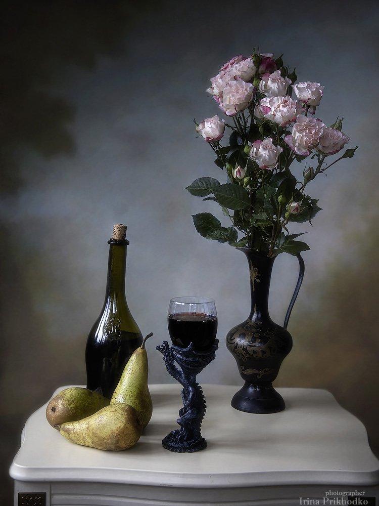 натюрморт, вино, груши, фрукты, букет, розы, винтаж, Ирина Приходько