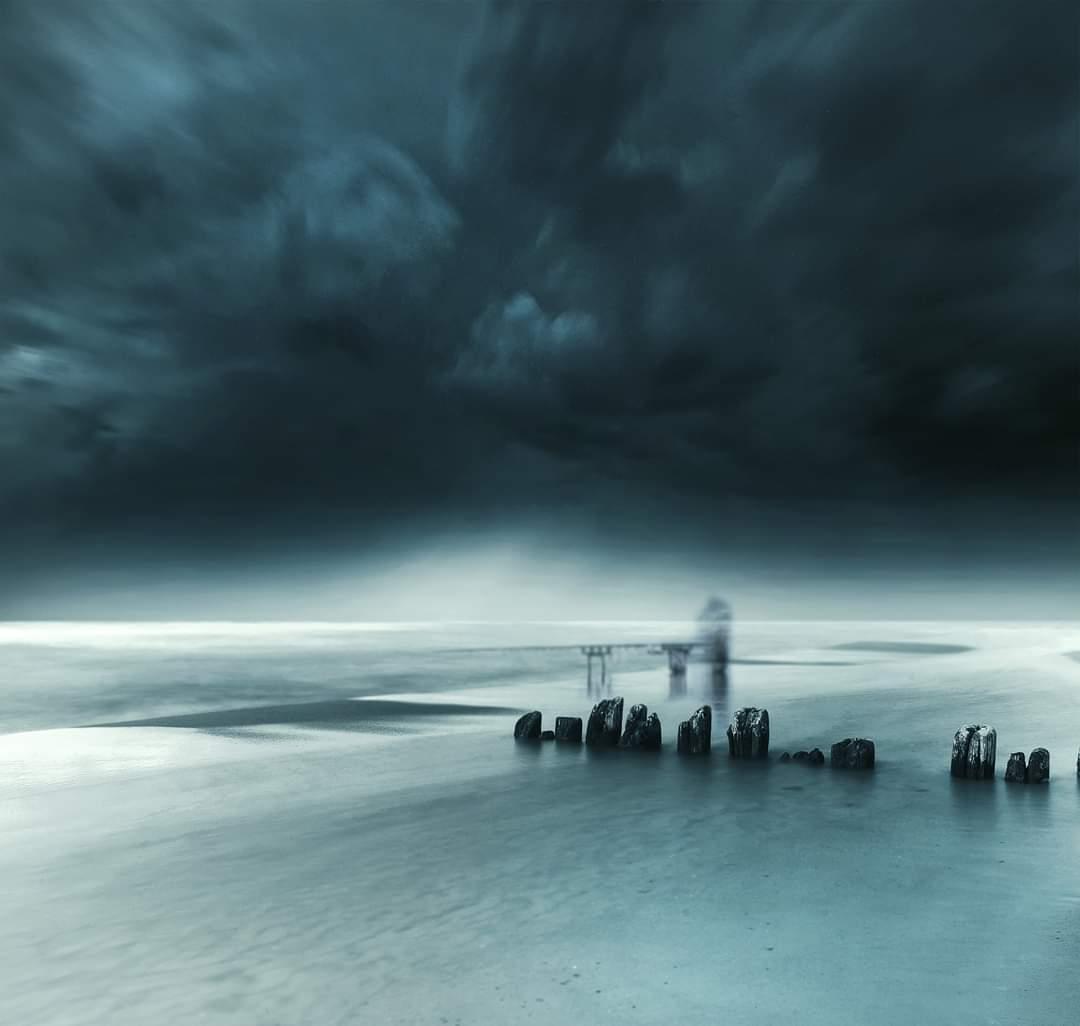 Sea, long exposure, water, clouds, sky, fisherman, Mindaugas Žarys