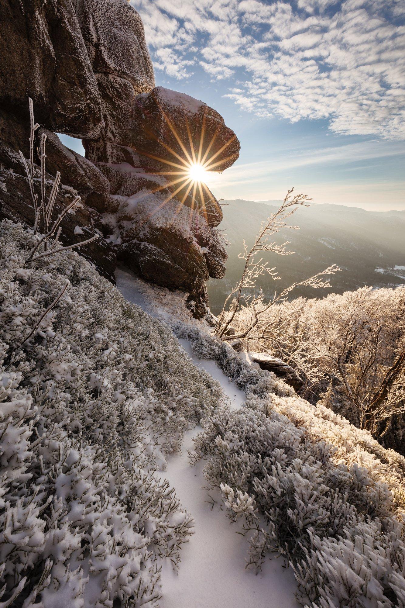 rock, sun, sunstar, winter, snow, czech republic, sky, clouds, czechia, landscape, mountains, Martin Rak