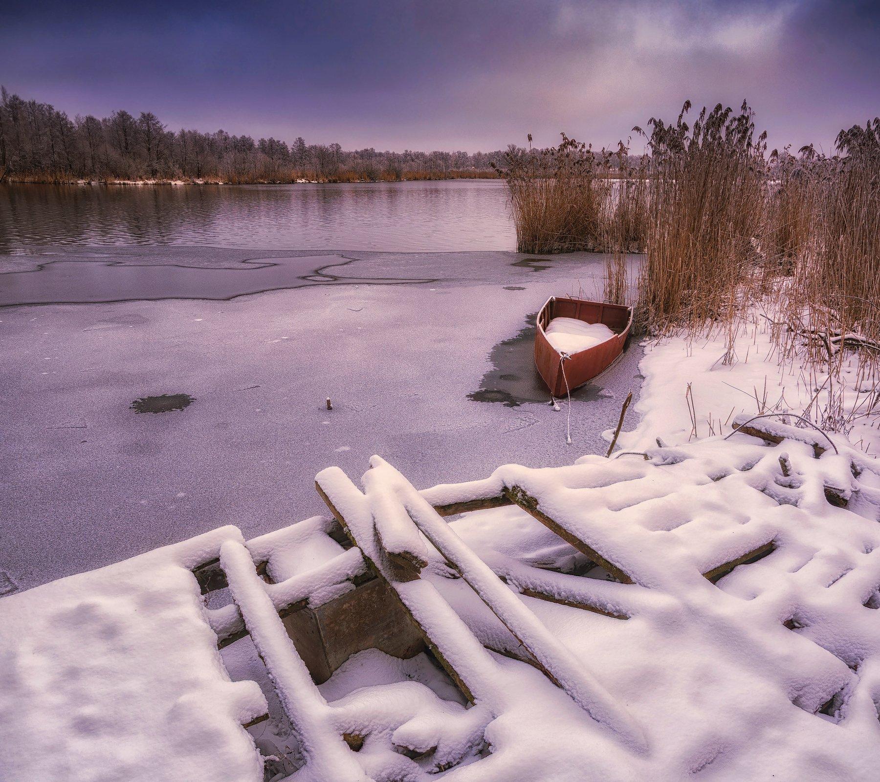 снег, природа, подмосковье, пейзаж, озеро, лодка, зима,, Павел Ныриков