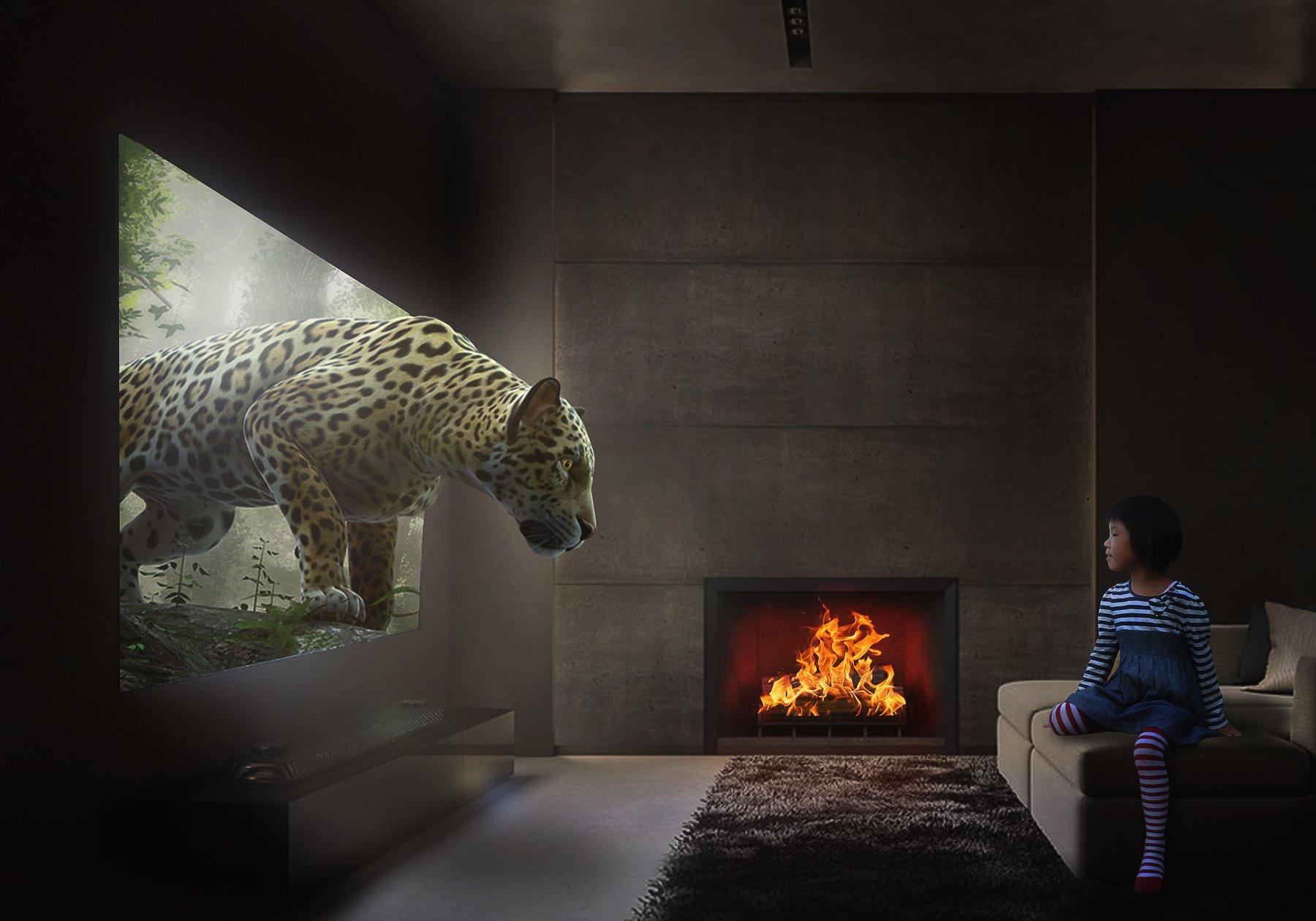 девочка, комната, леопард, телевизор, Sergii Vidov