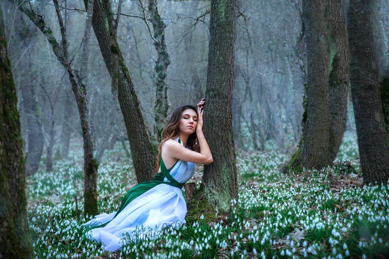 лес, подснежники, девушка, весна, Заручевская Надежда