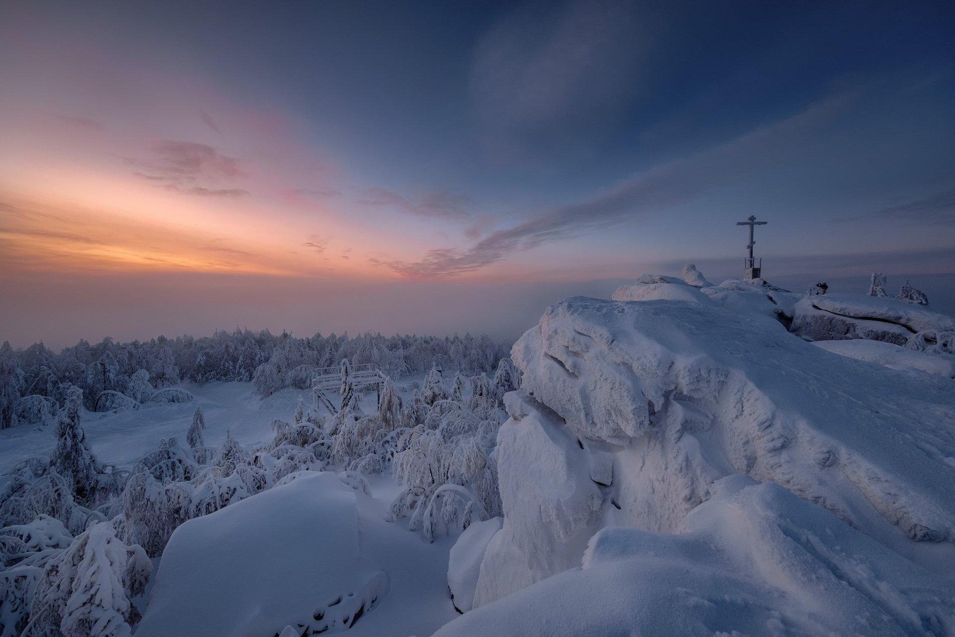 гора, крестовая, закат, губаха, пермь, зима, январь, холод, снег, мороз, Андрей Чиж
