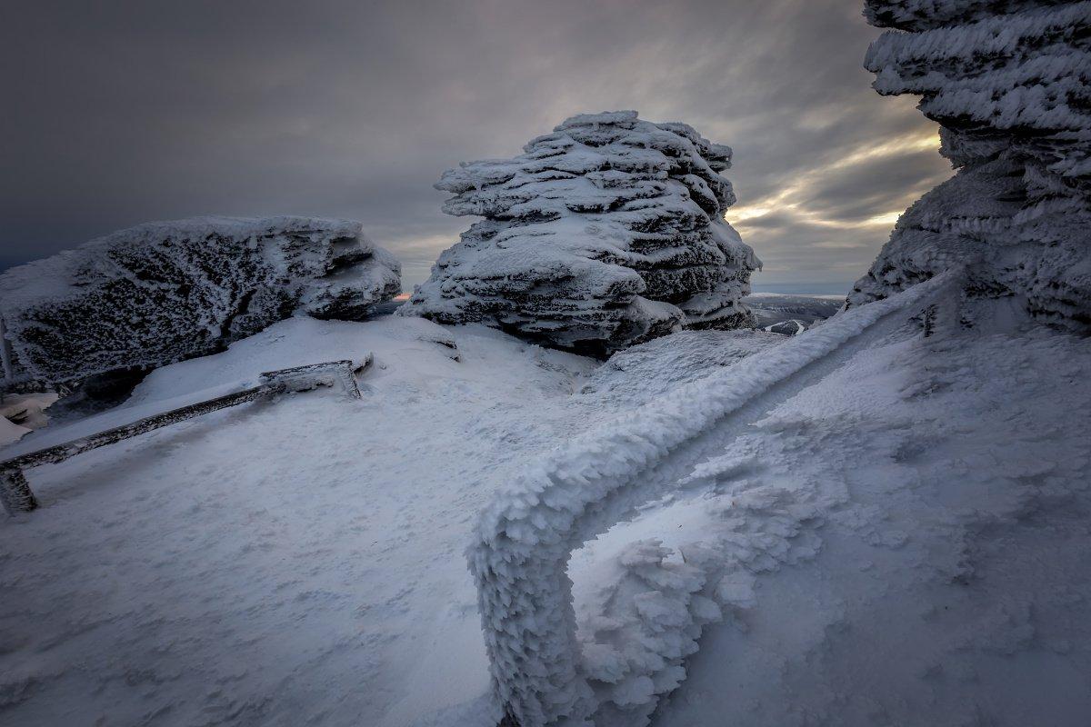 landscape, tree, panorama, rocks, snow, Petr Fiala