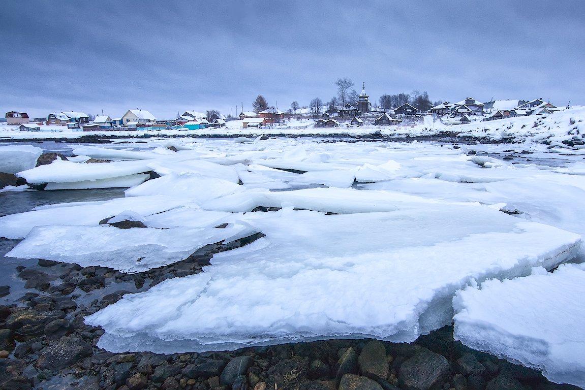 север,снег,лед,деревня,церковь,поморы., Анатолий Салтыков