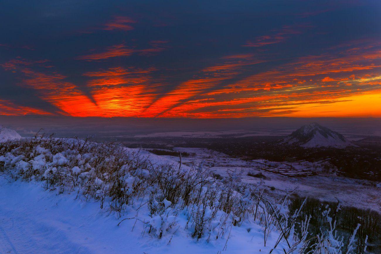 закат,зима,пейзаж,снег, Елена Брежицкая