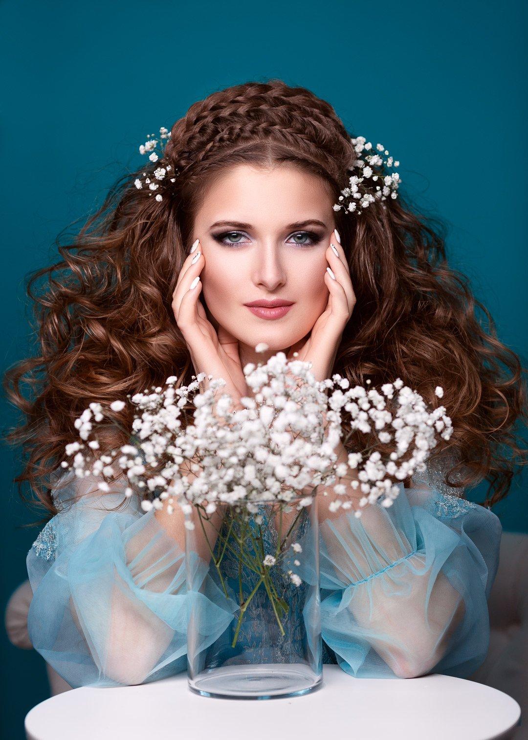 портрет, цвет, бирюзовый, цветы, украшения, красивая девушка,, Марина Кондратова