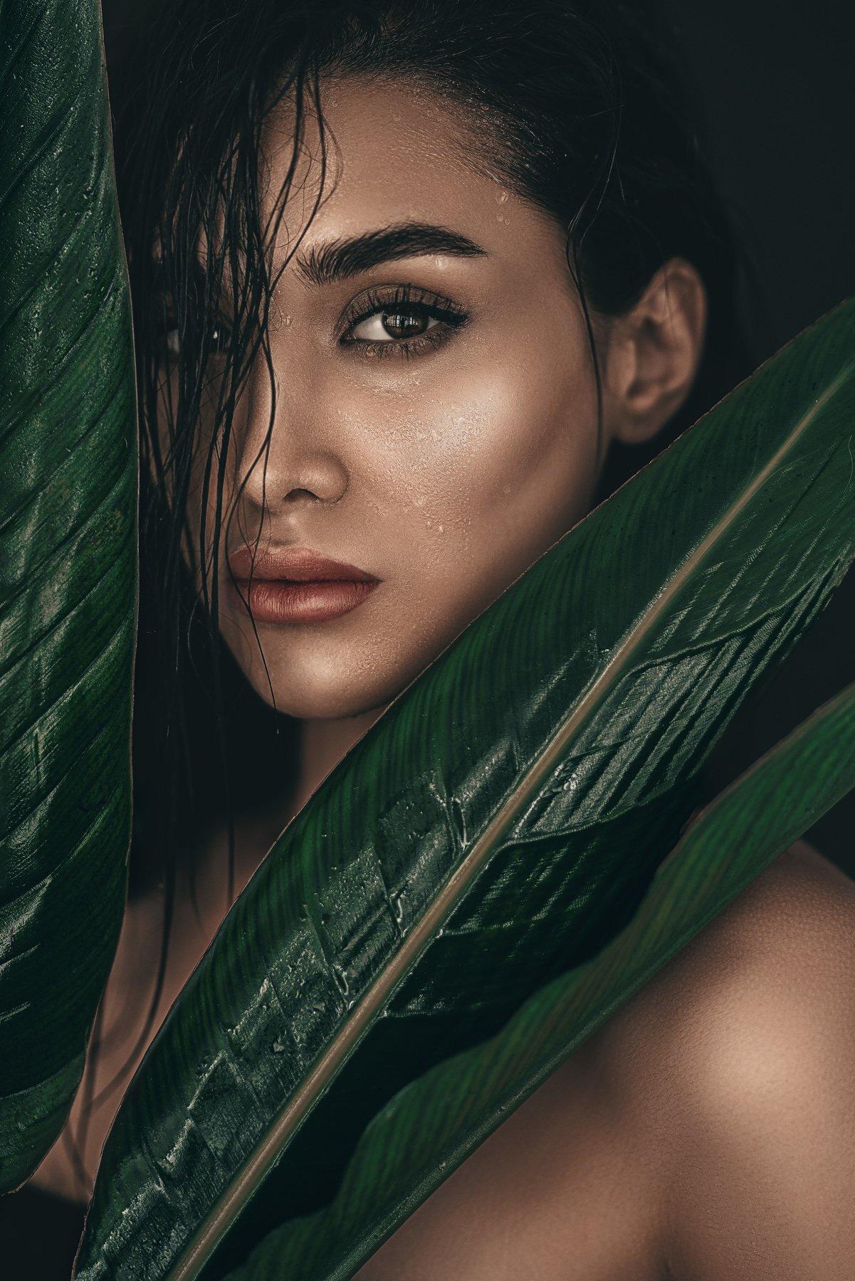 green, hot,leaves,female,girl,fashion,wet, Behzadi Amir