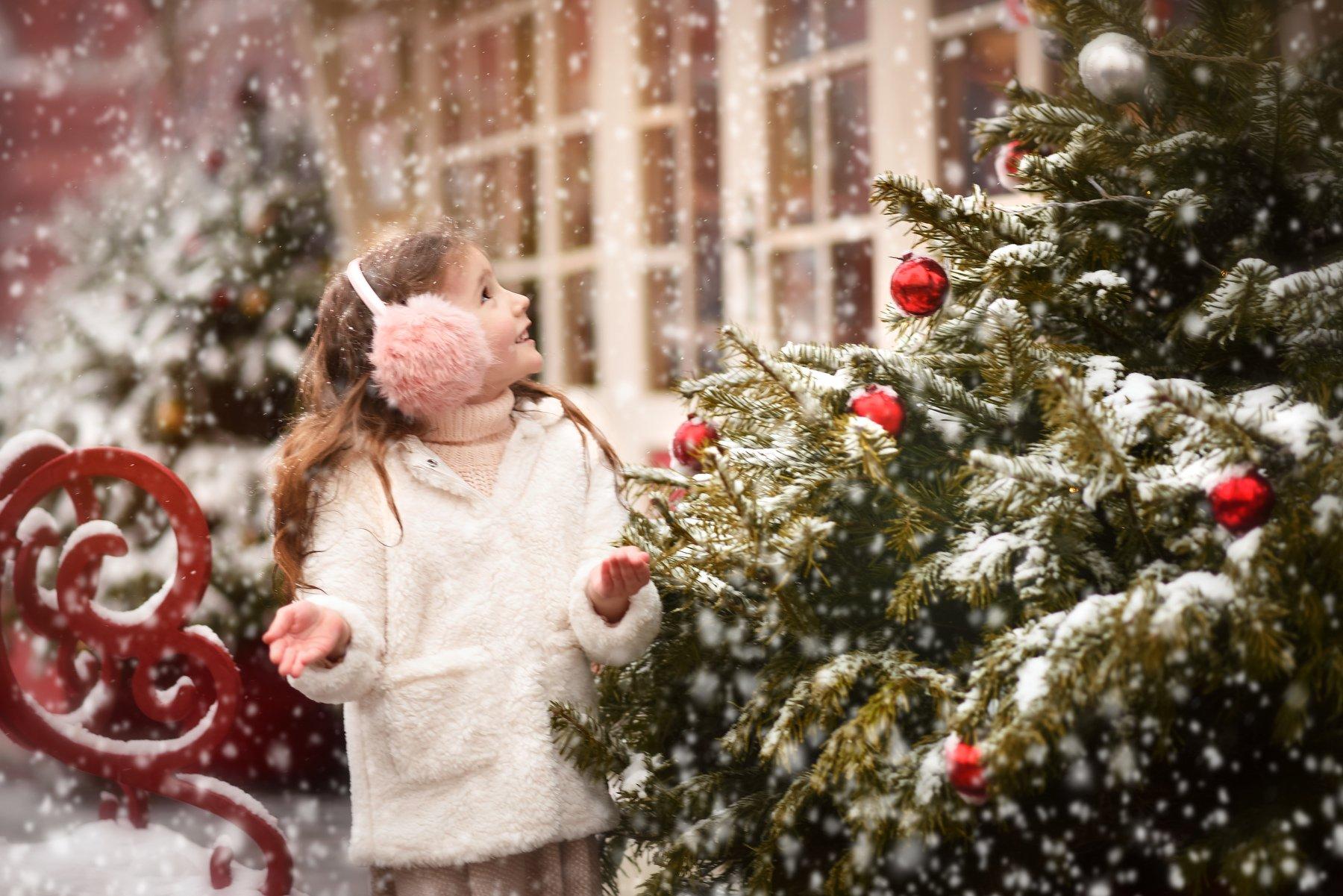 портрет детский дети рождество новый год елка ретро, Мейо Виктория