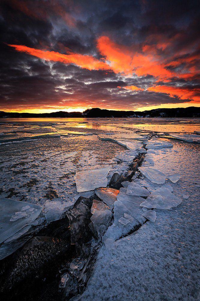 ice,frozen,frost,winter,norway,norwegian,jonsvatnet,lake,sunset,sky, Szatewicz Adrian