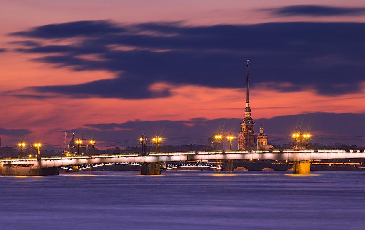 санкт-петербург, вечер, литейный мост, нева, петропавловская крепость., Sergey Louks