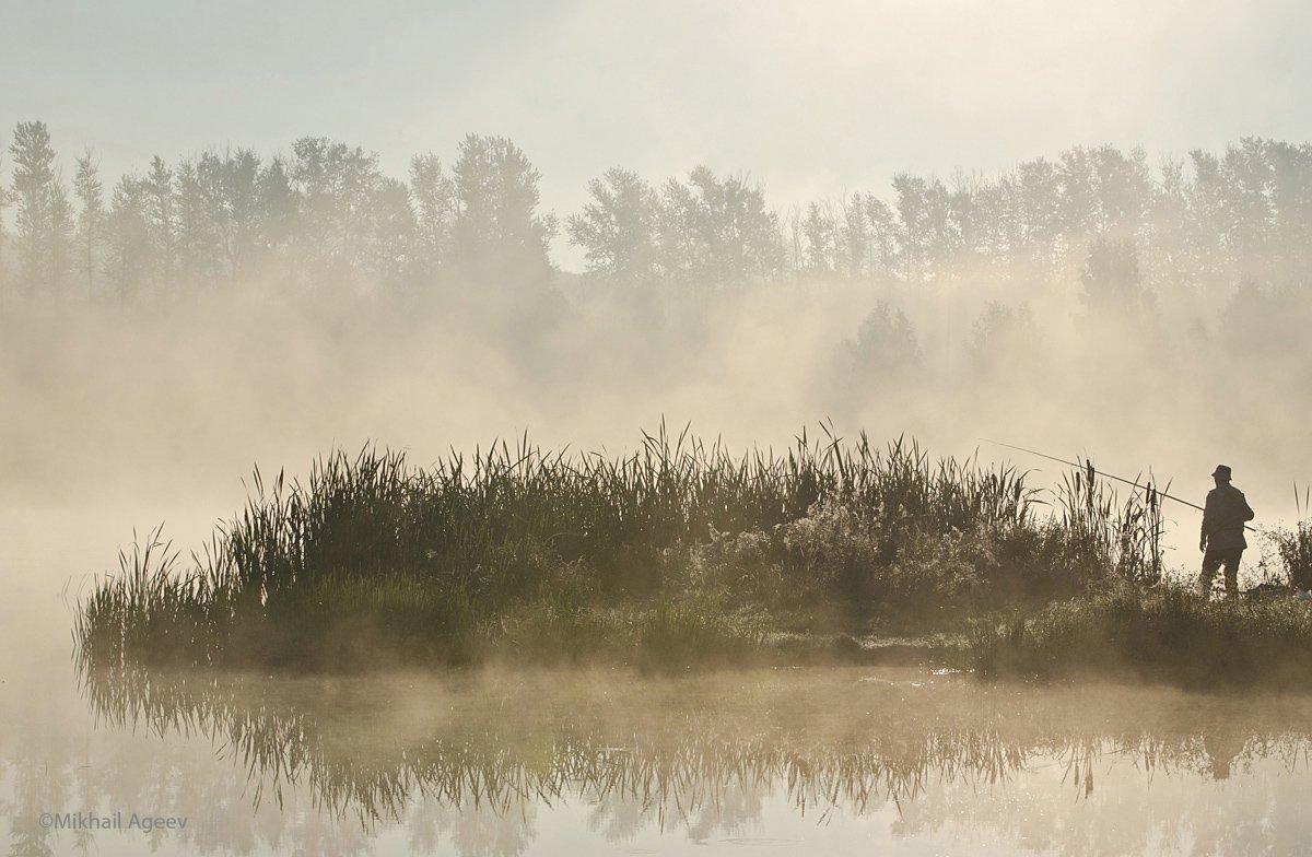 утро, туман, рыбак, архангельское, Михаил Агеев