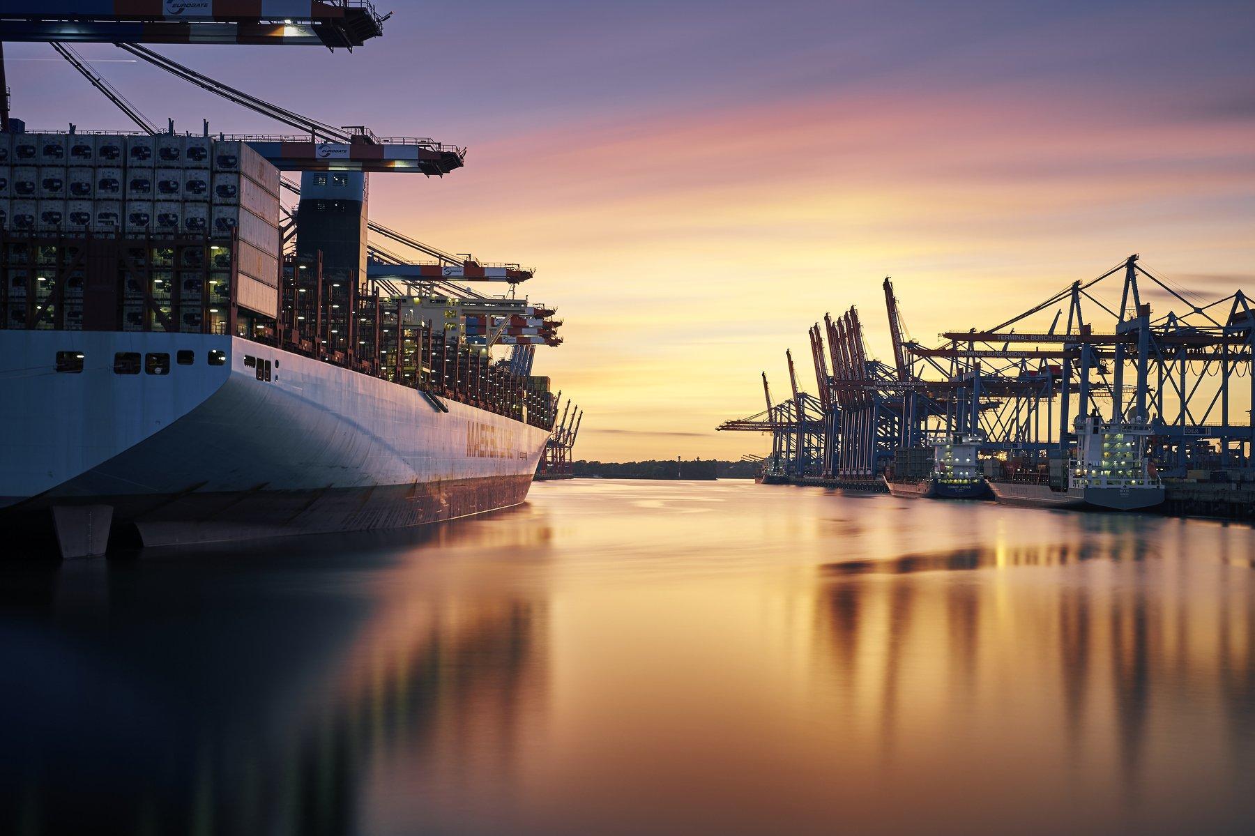 harbour, port, ships, water, elbe, Waltershof, lights, sunset, sky, clouds, container, Schönberg Alexander