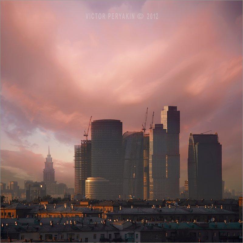 москва, сити, архитектура, город, стройка, закат, здания, 2012, Виктор Перякин