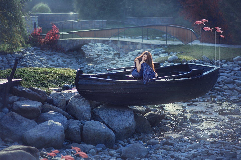fine art, mermaid, woman, fantasy, boat, sun light, blue, портрет, русалка, девушка, лодка, камни, солнечное утро, фантазия, Семёхина Марина