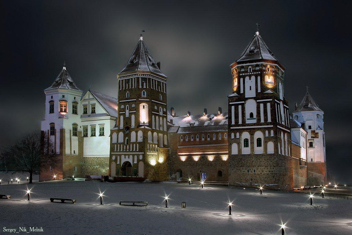 мир, замок, зима, ночь, снег,  беларусь, Sergey_Nik_Melnik