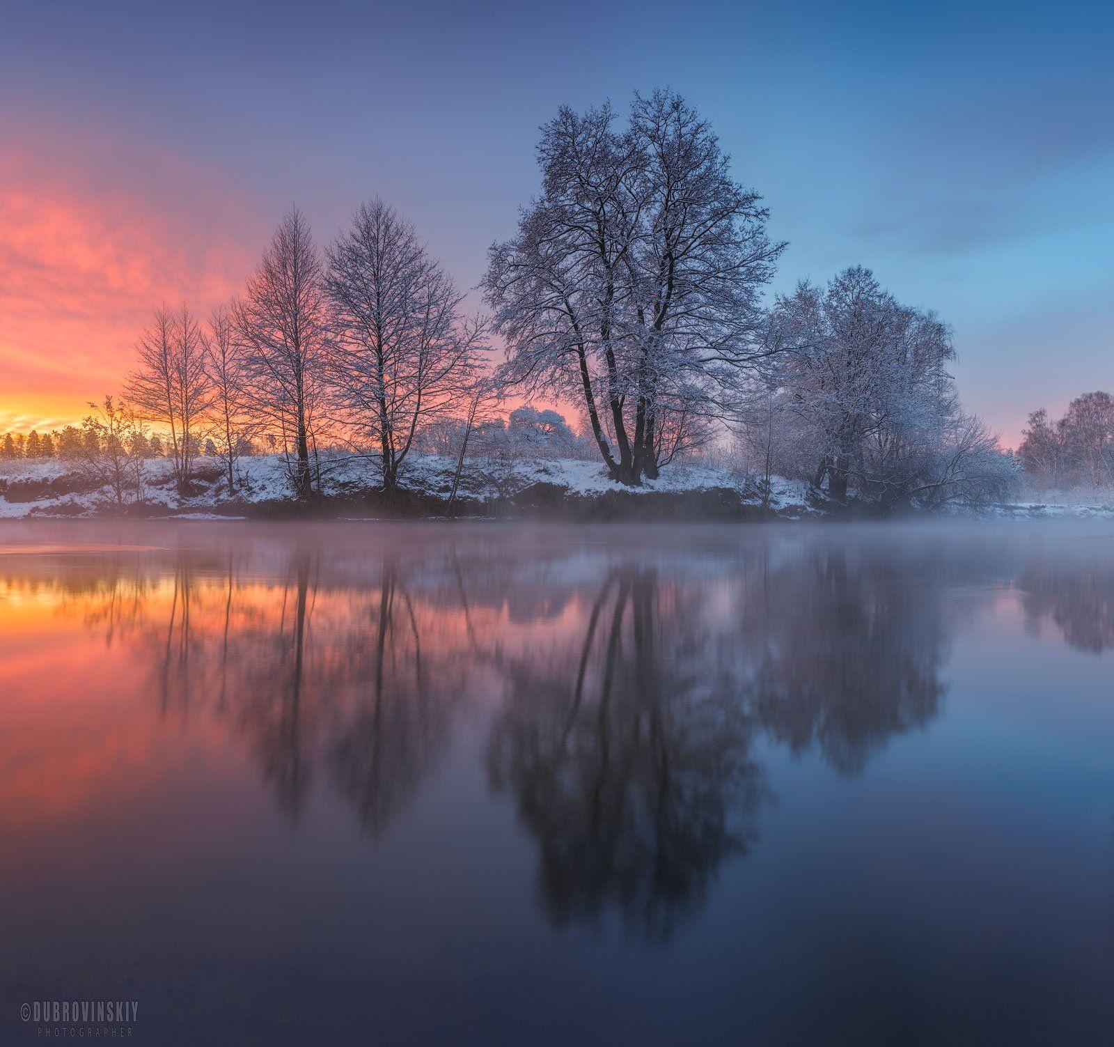 река, зима, рассвет, отражения, дерево, Дубровинский Михаил