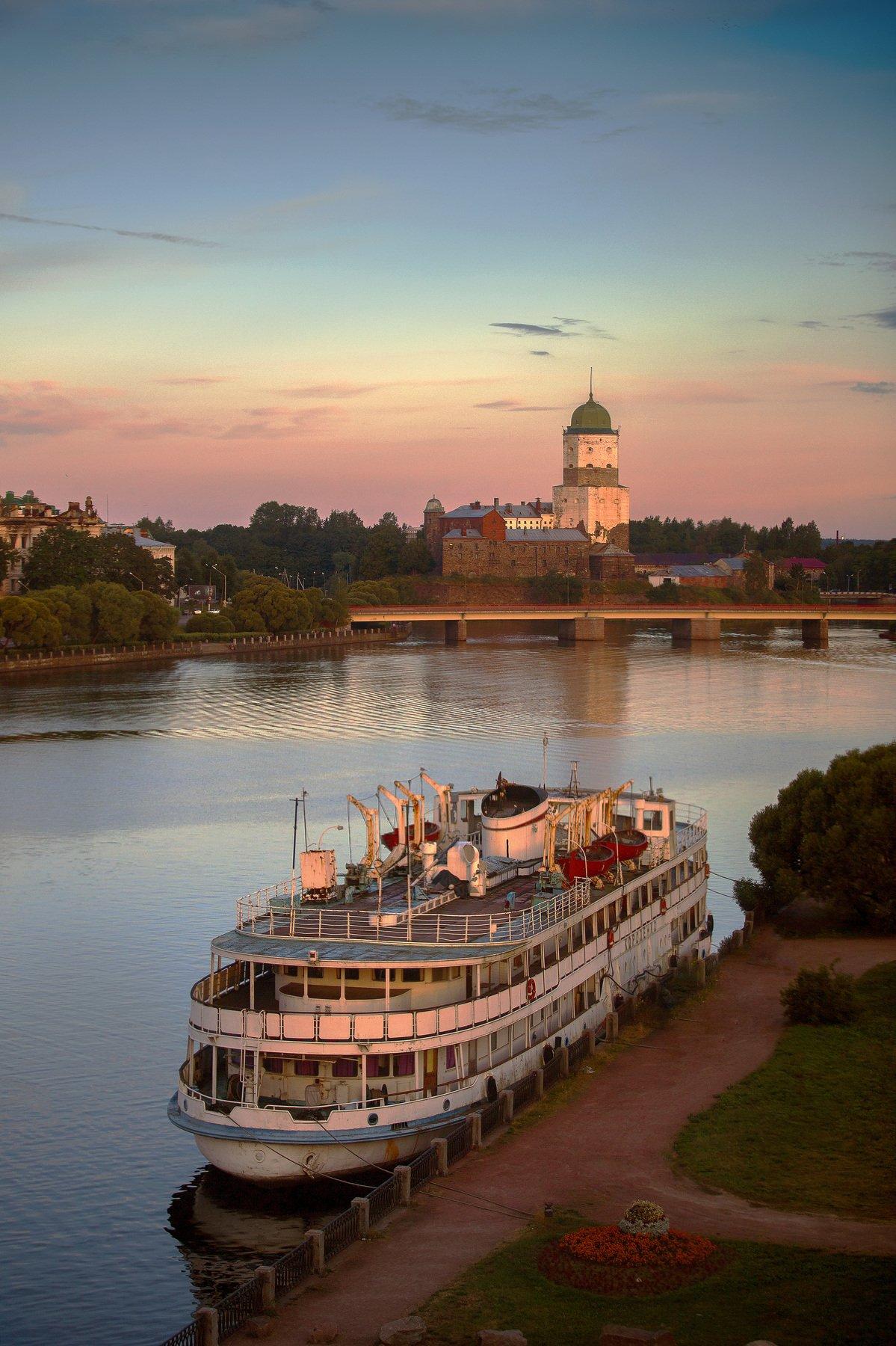 город, утро, лето, залив, крепость, корабль, Игнатьев Александр