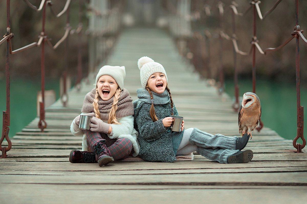 фотограф, зеркальный фотоаппарат canon mark iii, фотопрогулка, зима, детская фотосессия, детский фотограф, девочки, подружки, счастье, радость, дети на фото, сова, красота, восторг, Францева Ольга