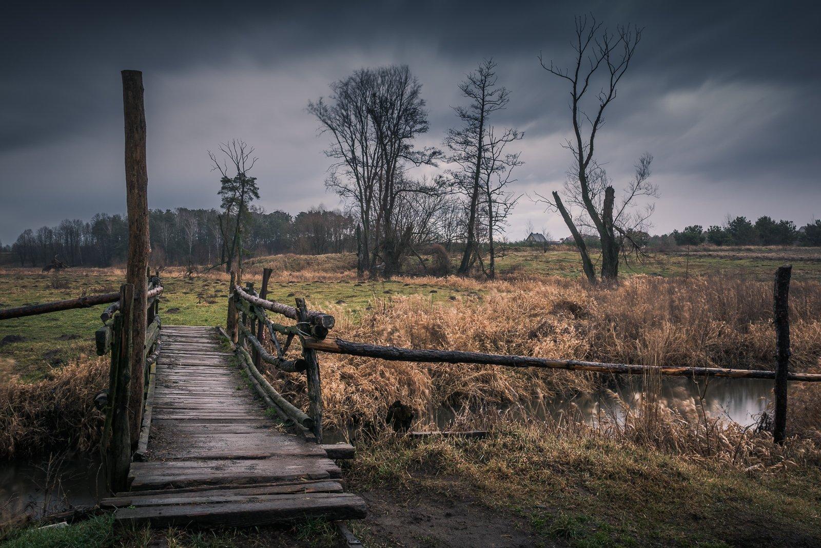 bridge, jeziorka, wooden, clouds, rain, landscape, nature, river, , Bociarski Artur