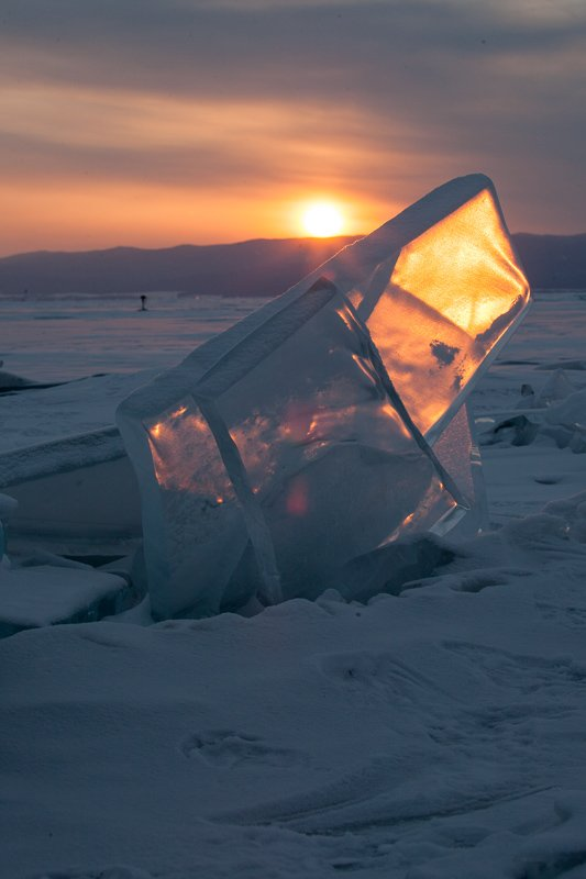 Байкал, закат, лед, льдина, снег, зима, Сергей Козинцев