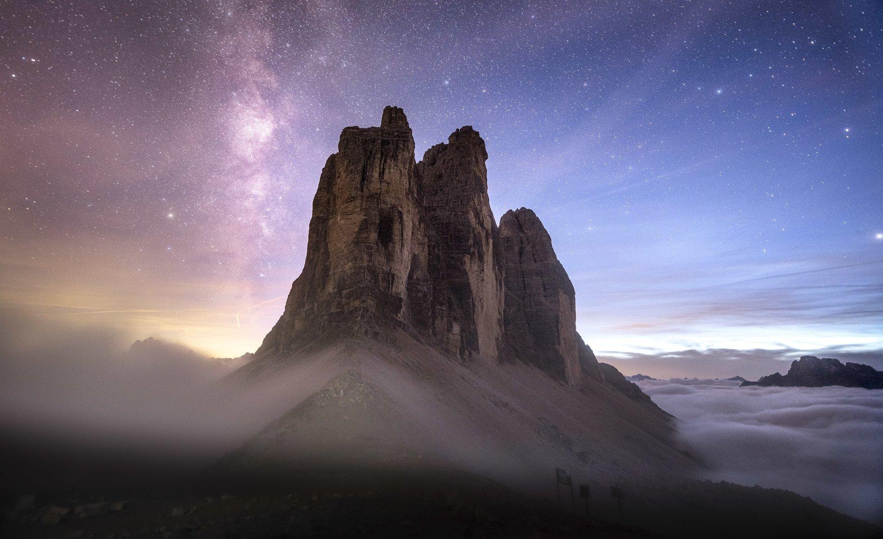 Italy, Tre Cime, Night, Milky Way, Mountains, Fog, Landscape, Sylwia Grabinska