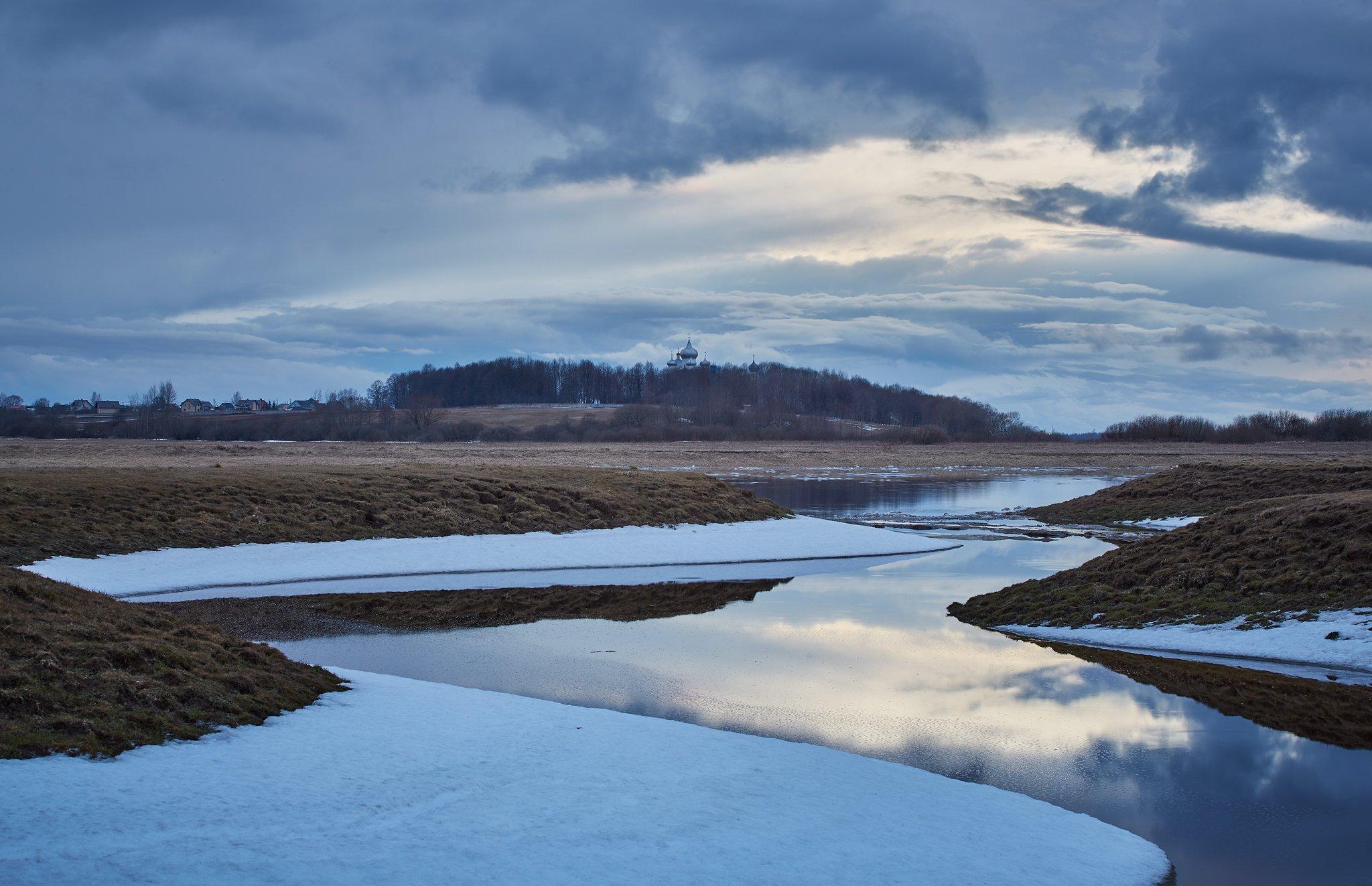 весна, снег, река, Кононов Антон