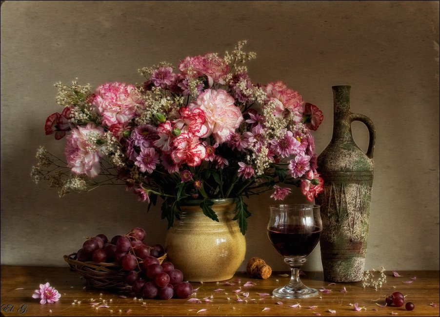 натюрморт, осень, гвоздики, хризантемы, виноград, вино, розовый, autumn, still, life, clove, pink, chrysanthemum, wine, grapes, El. G.