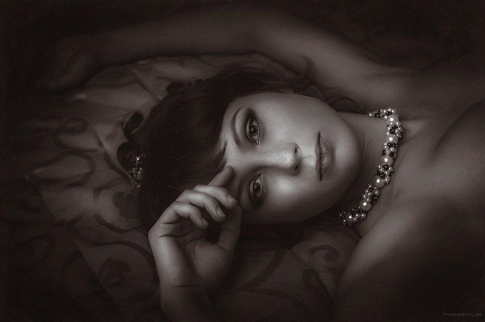 девушка, портрет, ч/б, ретро, Maximus©