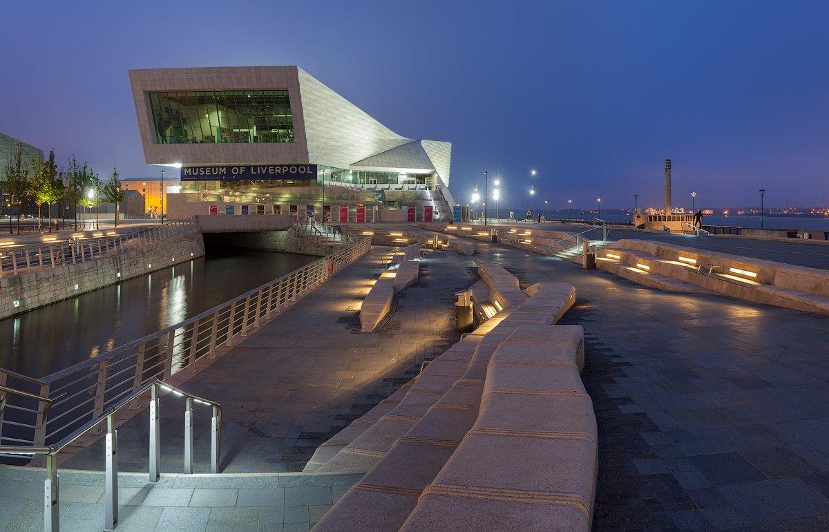 uk, england, liverpool, museum, pier head, blue hour, англия, ливерпуль, Alex Darkside