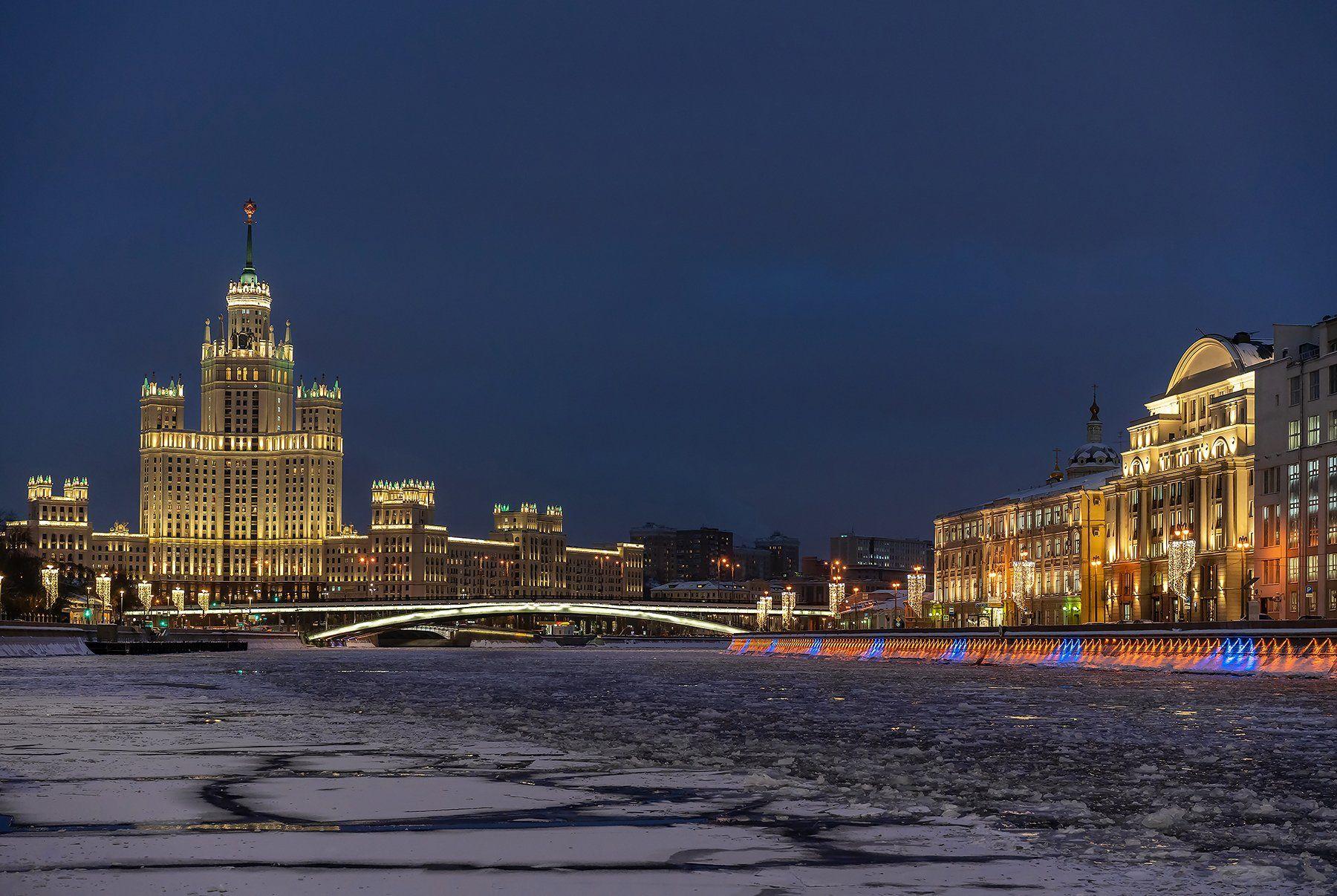река, город, архитектура, вечер, огни, башня, вода, зима, городской пейзаж, Olga ЯR