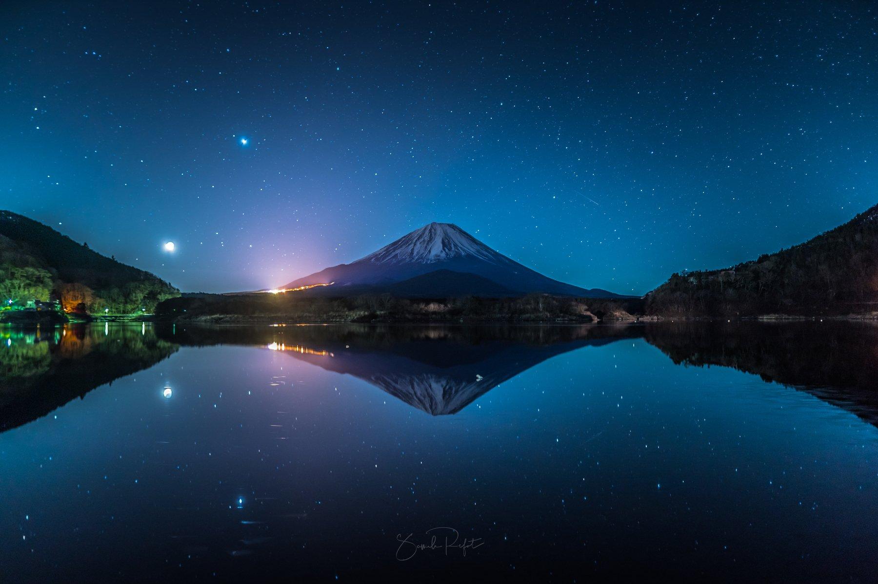 star, fuji, mountain, night,, Refat Sameh