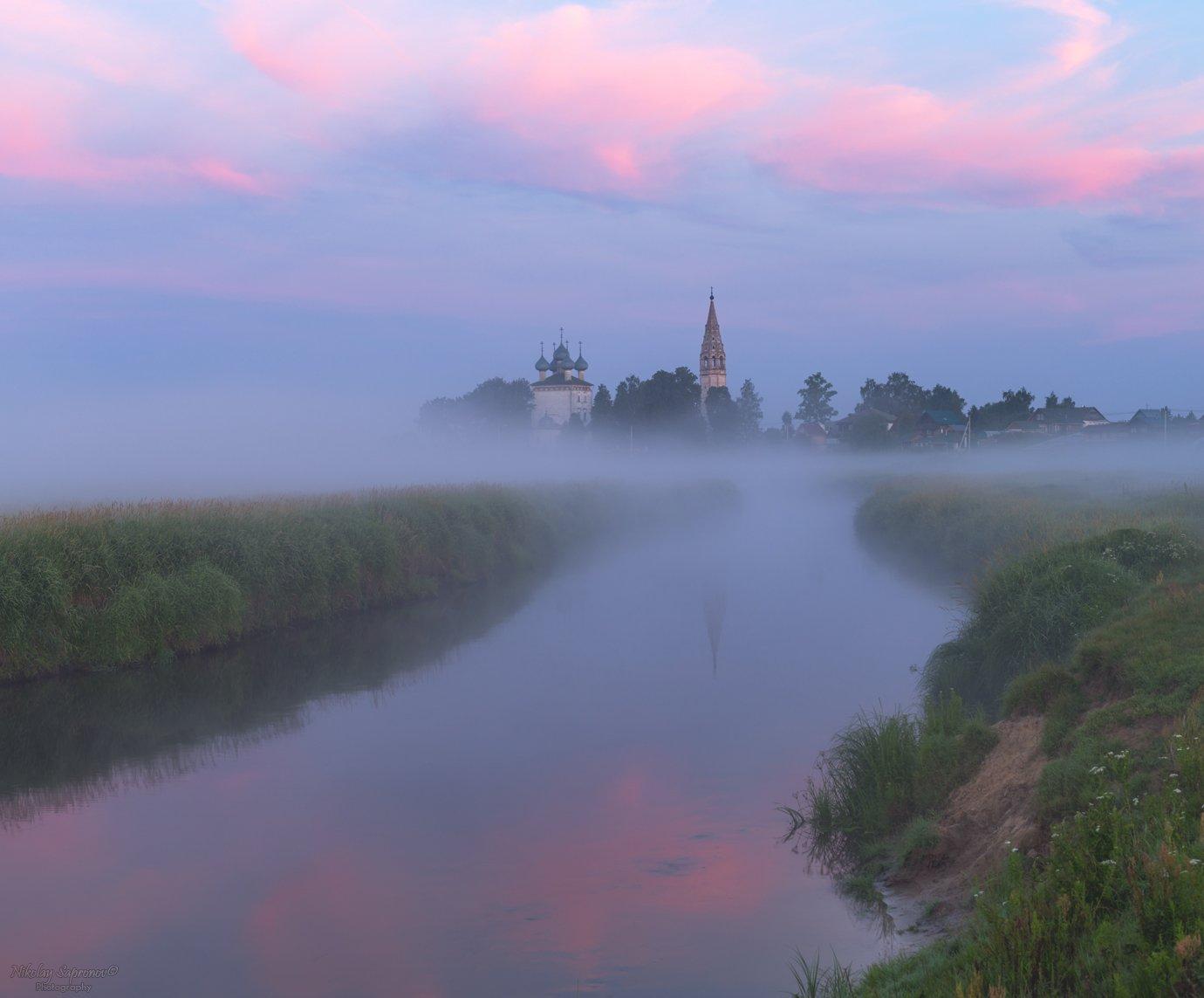 уводь, туман, владимирская область, рассвет, лето, летний пейзаж, Николай Сапронов