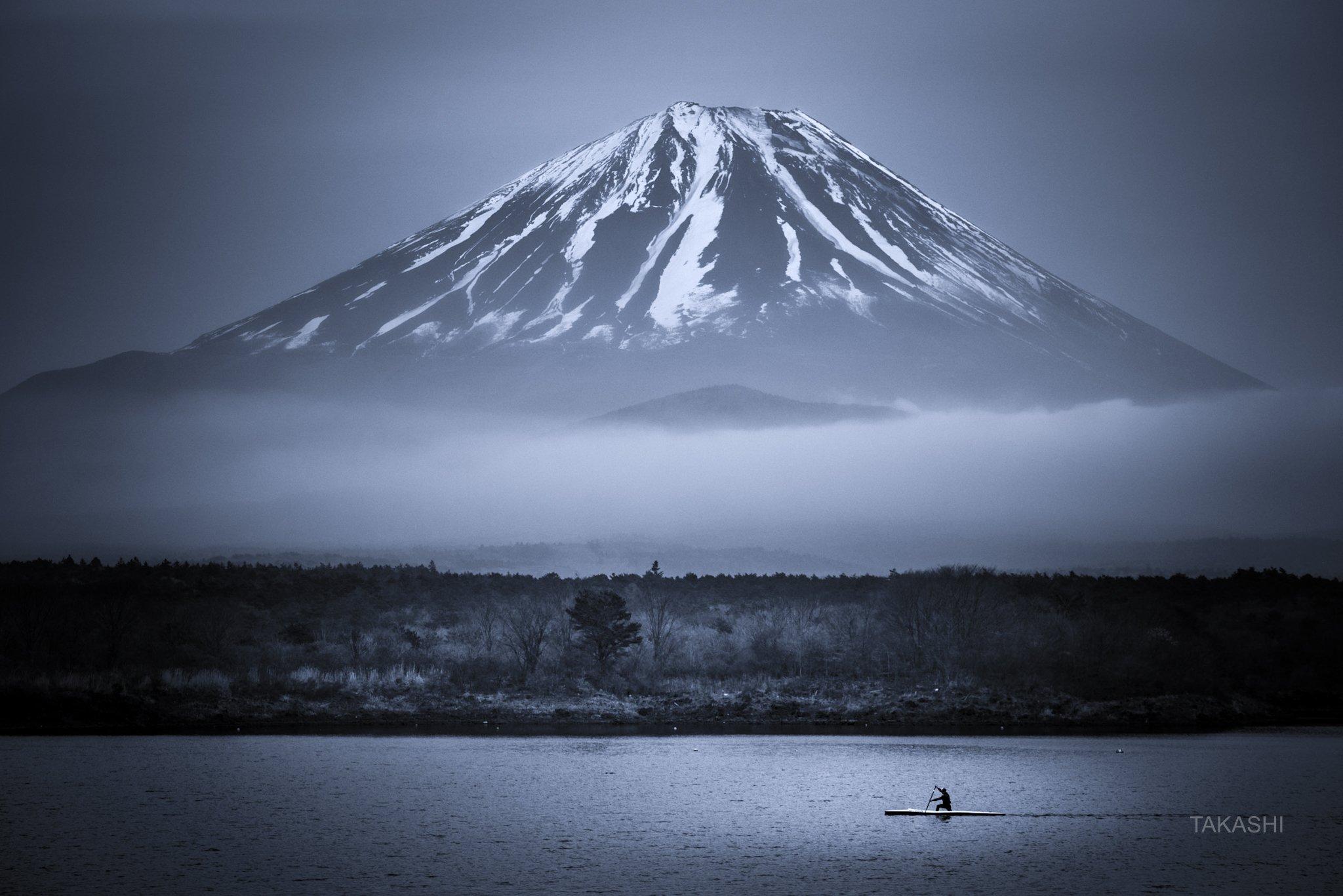 Fuji,Japan,mountain,cloud,boat,training,lake,water,cloud, Takashi
