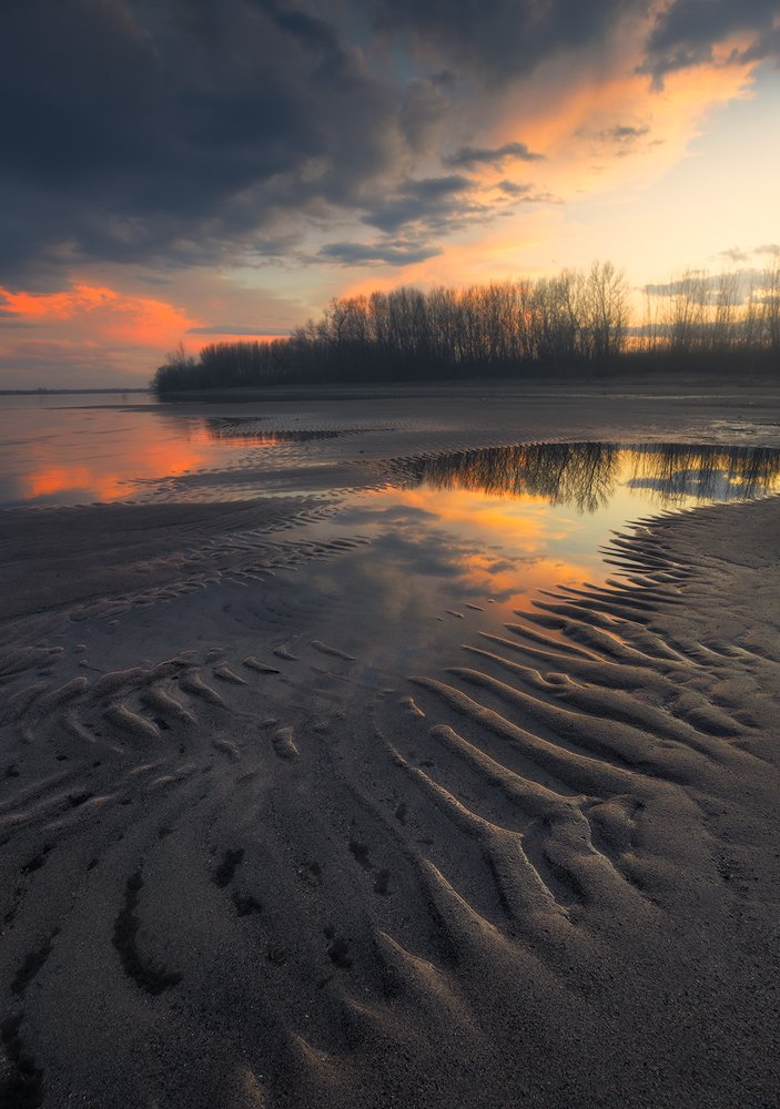 nature landscape beach sand structure patterns shapes water sunset colors warm, Lyuboslav