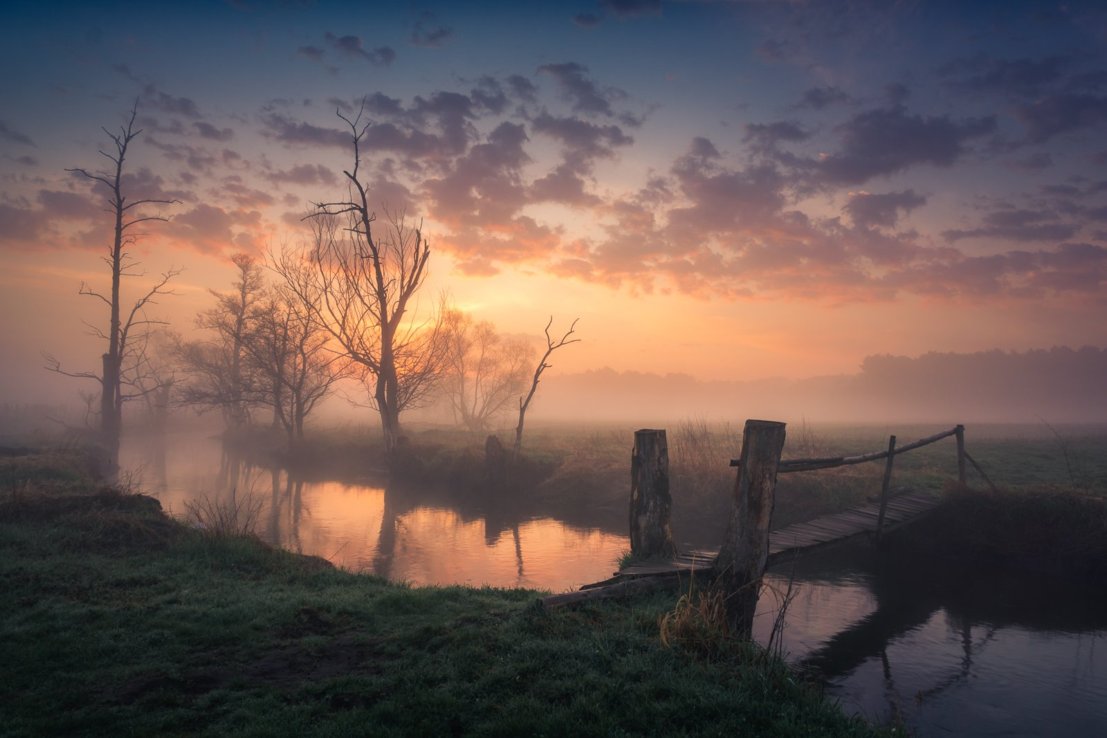 jeziorka, river, morning, sunrise, spring, wooden, bridge, , Bociarski Artur