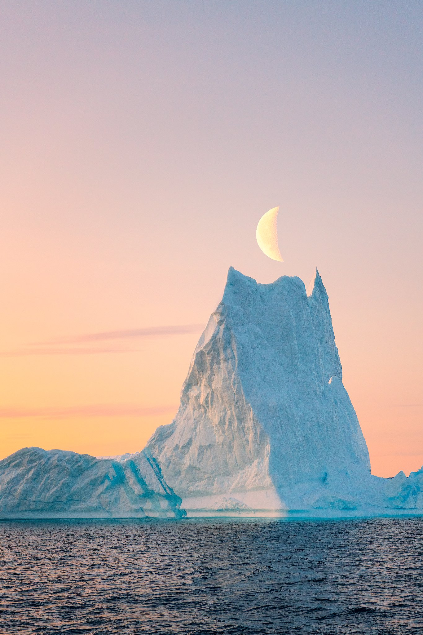 iceberg, sailing, greenland, moon, evening, sea, Chaturapitamorn Natnattcha