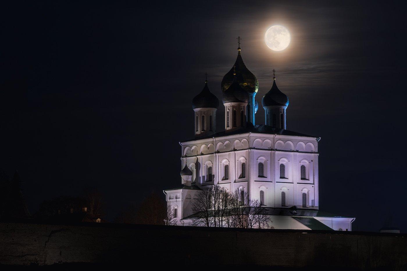 полнолуние, псков, россия, ночь, Майя Афзаал