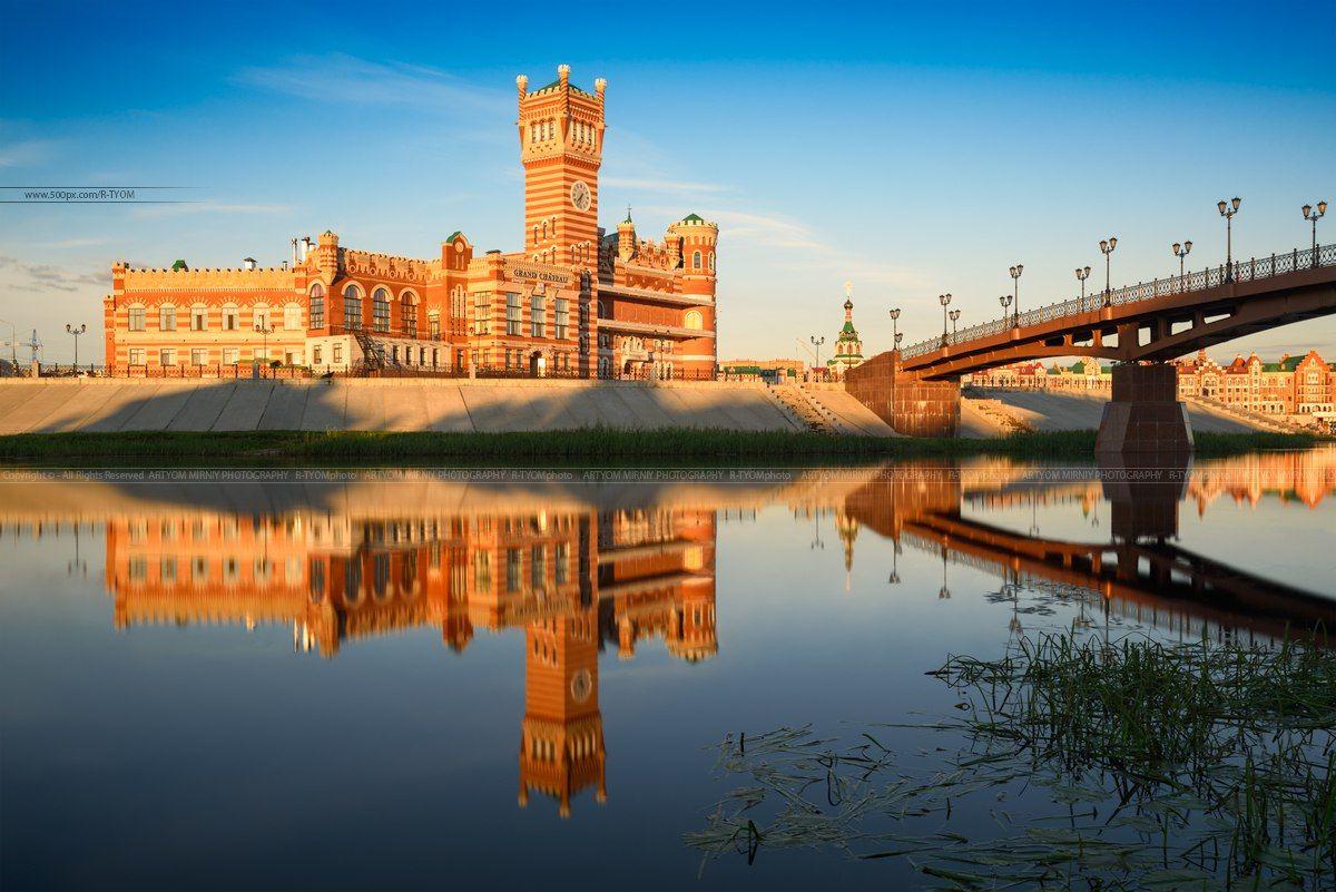 йошкар ола, россия, артем мирный, отражение, замок, вода, река, artyom mirniy, yoshkar ola, башня, свет, мост патриарший, марий, эл,, Мирный Артём