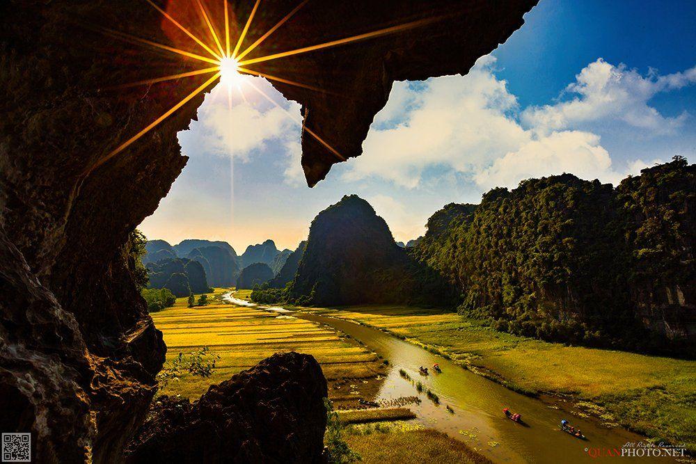 quanphoto, landscapes, rice, valley, farmland, agriculture, culture, river, mountains, boats, harvest, vietnam, quanphoto