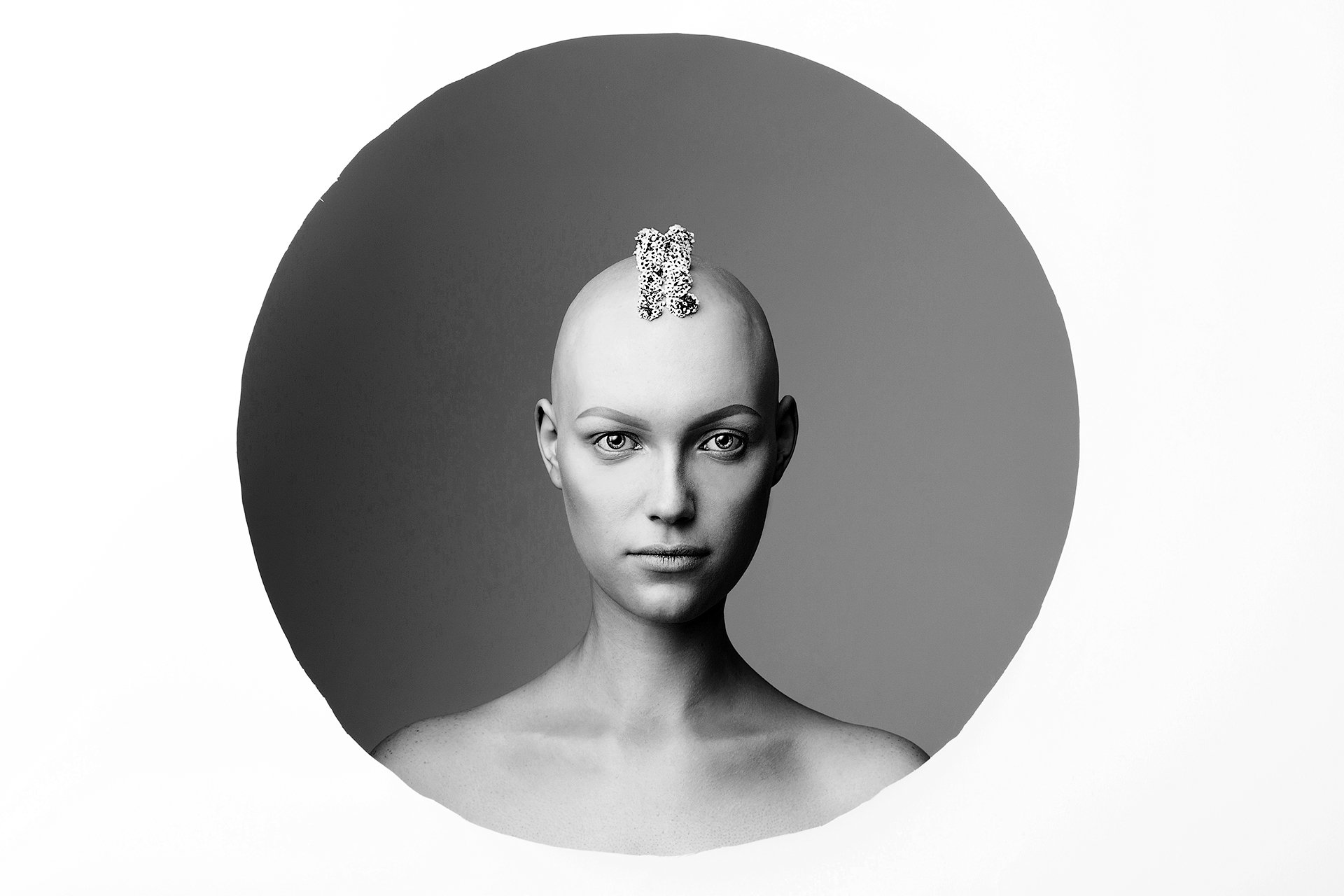 девушка, фон, фигура, геометрия, круг, цветы, чб, концептуальная, арт, инопланетная, Комарова Дарья